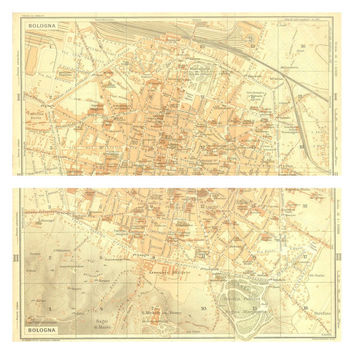 1916 Bologna City Map, Diptych Town Plan, Street Plan, Italy