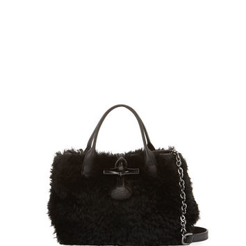 Longchamp Roseau Panthere Mini Shearling Crossbody Bag, Black/Gray