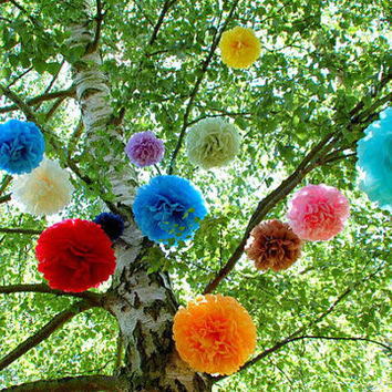 12 Tissue Pom Poms Party Poms Weddings Decoration Pompom Nursery Paper Decoration Party Decoration Poms Party Pompoms Tissue Paper Flower