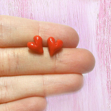 Valentine's Day red hearts stud earrings minimalist hypoallergenic for sensitive ears handmade in cold porcelain