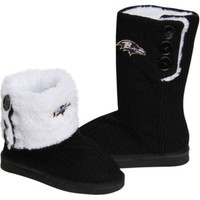 Baltimore Ravens Official NFL Ladies Knit High End Button Boot Slippers
