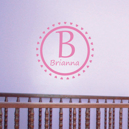 Nursery Monogram Wall Decal Circle of Hearts  Personalized