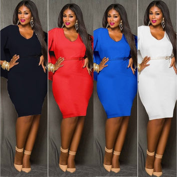 Fashion Women Batwing Sleeve Sexy Backless Package Hip Plus Size Party Bodycon Dress  = 5710287233