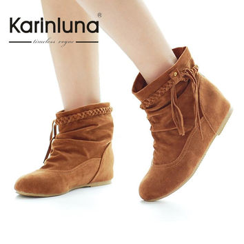 2016 Big Size 34-44 Western Women Boots Faux Suede-Leather Inner Heels Ankle Boots botas mujer Tassel Slip On Woman Shoes