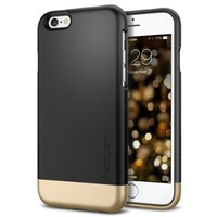 iPhone 6 Case, Spigen® [Safe Slide] iPhone 6 (4.7) Case Protective [Style Armor] [Smooth Black] SOFT-Interior Scratch Protection Metallic Finished Base with Dual Layer Protection Slim Trendy Hard Case for iPhone 6 (4.7) (2014) - Smooth Black (SGP11047)