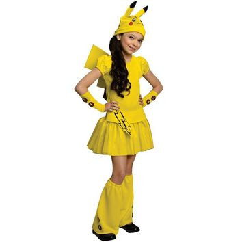 2017 Girls Pikachu Pokemon Go Costume Wagging Tail  Halloween Kids Cosplay Carnival Party Dress-Up