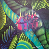 "Art Original Painting   Surreal Landscape & Scenic ""Castle into Heart"""