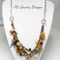 Hand Crochet Amber color mixed Agate Stone Wood and Jet Bead Charm Necklace Bohemian Necklace Bead Jewelry Healing Stone Necklace