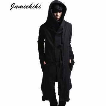 Jamickiki Brand Mens High Streetwear Sweatshirts Top 2017 New Fashion Male Hemp Rope Design Black Hoody Hoodies Men KF-1464