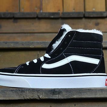 PEAPON Vans Black High Top Leather With Fur Warm Casual Canvas Sneakers Sport Shoes
