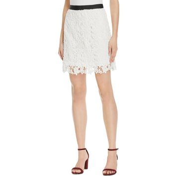 French Connection Womens Lace Floral Mini Skirt