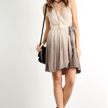 Taupe Dip Dye Dress
