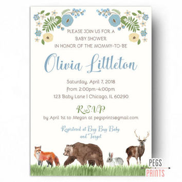 Forest Friends Baby Shower Invitation - Woodland Baby Shower Invitation Boy - Forest Animal Baby Shower Invite - Forest Baby Shower Boy