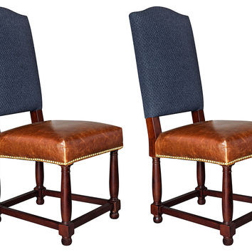 Navy Nantucket Leather Side Chairs, Pair, Dining Chair Sets