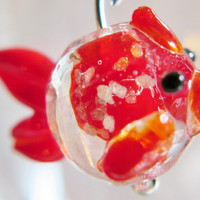 Murano Glass Red Fishy Earrings