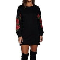 [14448] Pullover Long Sleeves Crew Neck Dress