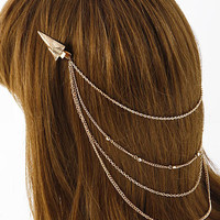 Golden Pyramidal Chain Connected Hair Clip
