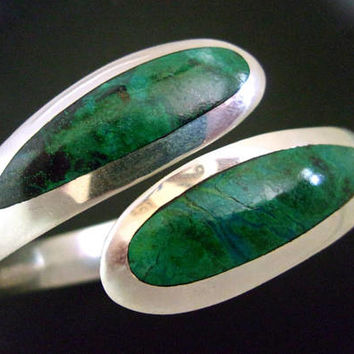 Chrysocolla Sterling Silver Hinged Bracelet, SERGIO, Bypass, Mexico, Vintage