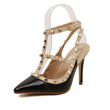 Sexy Gothic Punk Rock Studded Mary Jane High Heeled Women's Pumps