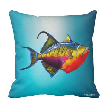 Psychedelic Colorful Triggerfish Fish Drawing Throw Pillow