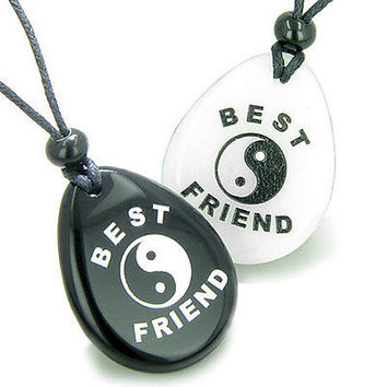 Lucky Best Friends Ying Yang White Jade and Black Onyx Wish Gemstones Friendship