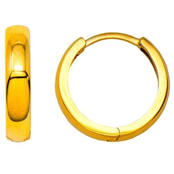 14k Yellow Gold Classic Small Square-Tube Huggie Hoop Earrings (3.7mm Thick), 15mm