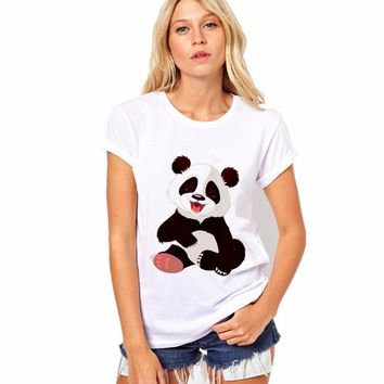 Round Collar T Shirt Print Finger Adorable Panda Cute T-Shirt Women Summer Clothes Casual