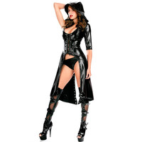 2016 New Arrival Sexy Gothic Punk Fetish Black Latex Catsuit Faux Leather Pirate Halloween Role Play Costume Jumpsuit 84402