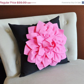 MOTHERS DAY SALE Pink Flower on Black Pillow Dahlia Pillow Nursery Pillow Decorative Pillows