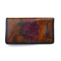 Vintage 1970s Tooled Leather Long Wallet Rose