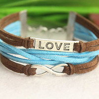 love infinity bracelet--retro silver charm bracelet,brown leather bracelet,aqua braid cord