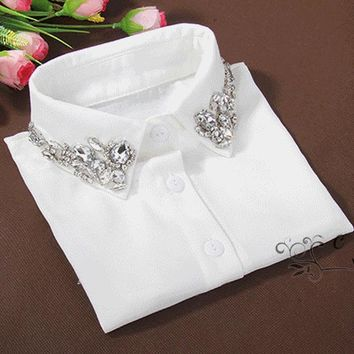 Vintage fashion White Half Shirt Detachable High-grade crystal female blouse Fake collar top Blouses Peter pan Detachable Collar