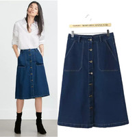 Stylish High Rise With Pocket Denim Women's Fashion Skirt [4919014340]