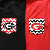 Shortsleeve UGA Georgia Dawgs functional pocket tee by psBlessed