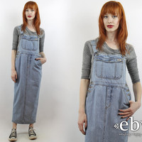 Vintage 90s Jean Maxi Denim Overalls Dress S M 90s Overalls Dress 90s Maxi Dress Jean Overalls 90s Denim Dress Denim Maxi Dress