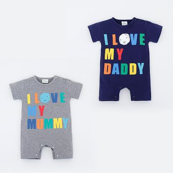 I Love My Mommy Daddy Infant Baby Romper Jumpsuit
