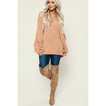 No Hurry Chenille Sweater (Caramel)