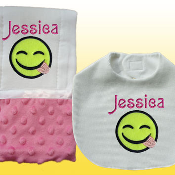 Personalized Baby Girl Pink Minky Emoji Smiling Face Bib and Burp Cloth Set