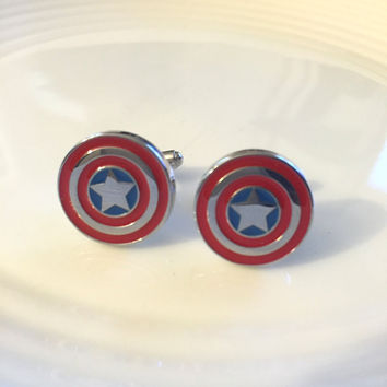 Captain America Cuff Links, Red Cuff Links, Captain America, Silver Charm Cuff Links, Gift for Him, Boyfriend Gift, Husband Gift, Comic Book