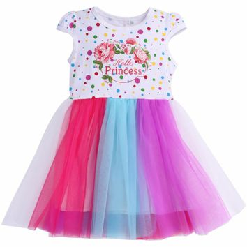 Spring Baby Girls Dress Summer 2018 Children Wedding Dress Girl Lace Colorful Kids Girls Clothes 3 Years Cotton Vestido Infantil