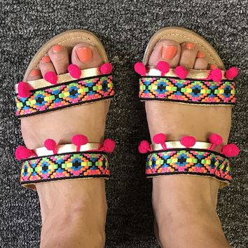 Boho Ethnic Tribal Sandals Gold with Pink Pompoms