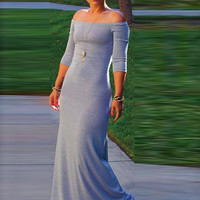 2017 Women Party Dresses Sexy Slash Neck Off Shoulder Maxi Long Dress Floor Length Bodycon Dresses C