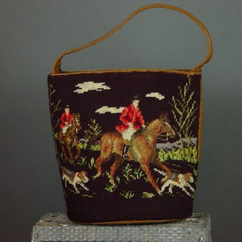 Vintage 70s Needlepoint Bucket Purse Handbag Embroidered Fox Hunt Scene Horse Equestrian