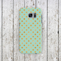 Mint Gold Polka Dot Case iPhone 7, iPhone 7 Plus, iPhone 6, iPhone 5, Samsung Galaxy S7, Edge, S6, S6, S4, Google Pixel