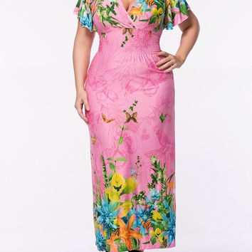 Streetstyle  Casual Empire Elastic Waist Deep V-Neck Plus Size Maxi Dress In Floral Printed