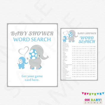 Blue and Gray Elephant Baby Shower Word Search Game Baby Shower Games Printable Instant Download Boy Baby Shower Games Activity Blue ELLBG