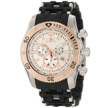 Invicta 10249 Men's Sea Spider Stainless Steel & Rubber Bracelet White Dial Chronograph Watch