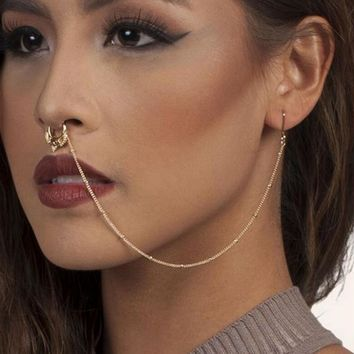 Hot sale crystal fake nose ring with chain clip on body jewelry fake septum piercing hanger jewelry for women
