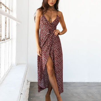 Summer Polka Dot V-neck Straps Casual Dress 25092-3