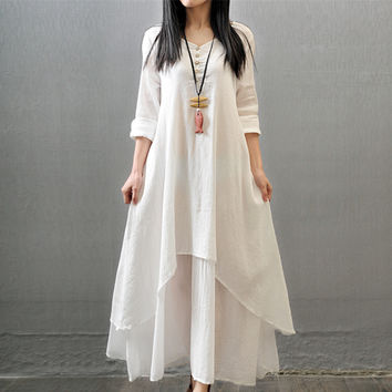 2016 double layer linen robes loose expansion bottom long-sleeve fluid faux two piece one-piece dress full dress